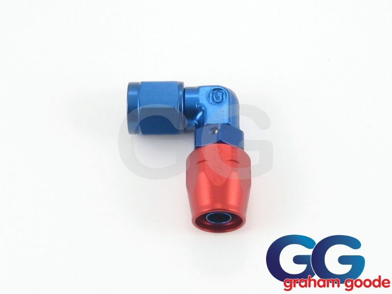 Goodridge 200 Series Dash 12JIC 200.12 Fuel Hose 90Degree Forged Fitting Blue/Red Anodised 336-9012